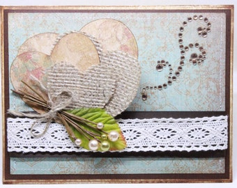 Valentine's Day Card - Burlap Hearts - Handmade Rustic Valentine Card