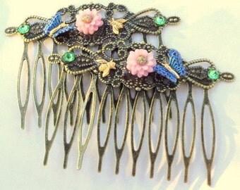 Lavender Mums, Blue Glitering Butterflies & Honey Bees, Antiqued Brass Hair Combs, Hair Accessories,Flower Girl, Bridesmaid, Prom Hair, OOAK