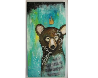 Original Bear painting whimsical boho mixed media art on wood panel 10x20 inches - The seeker of wonders