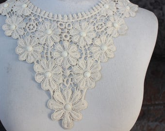 Ivory color   beaded venice  embroidered applique yoke