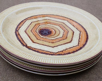 Mid century modern plate set ~ midcentury plates ~ dessert plates ~ Vortex plates ~ Poole pottery ~ broadstone ~ set of four ~ dinner plates