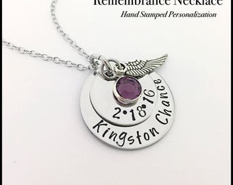 Remembrance - Memorial Necklace.... Hand Stamped Stainless Steel..Personalized