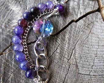 Chunky Bead Bracelet, Beaded Stack Bracelet, Multi Strand Bracelet, Boho Beaded Bracelet, Gemstone Bead Bracelet, Beaded Charm Bracelet