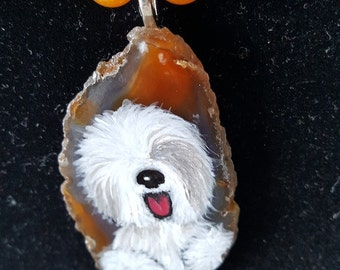 Handpainted geode Sheepdog necklace