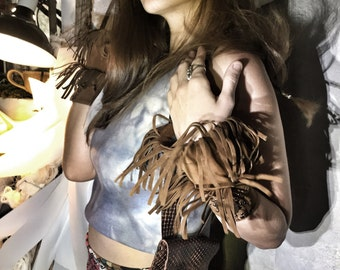 Antique Cowgirl : Light Faux Suede Brown Fringe Cuffs