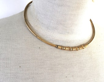 simple brass bead choker necklace 60s 70s vintage jewelry minimalist