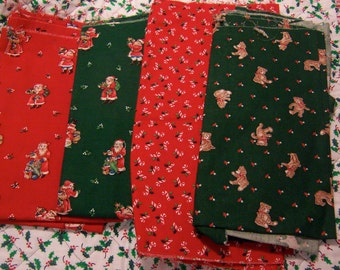four pieces of holiday fabric