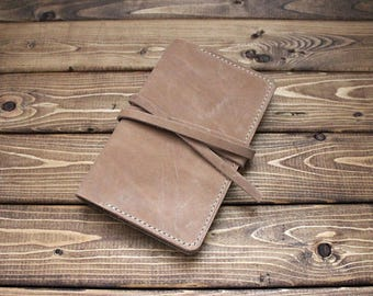 Hand-Stitched Leather Journal cover for Field Notes - Moleskine pocket size in Camel