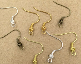 100PCS Brass Earwires Raw Brass/ Antique Bronze/ Silver/ Gold Ear Wire with Loop, Bead and Coil Wholesale Earrings Ear Hook- Z8720