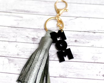 Mothersday gift, Leather tassel key chain, Custom key chain, Gift to mom, Bridesmaid gift, Mother of the bride gift, Gift for her