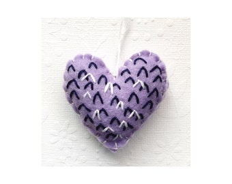 Felt embroidered Heart Ornament