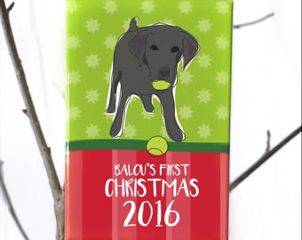 Personalized My First Christmas Ornament for Puppy or Dogs First Christmas - Labrador Retriever Dog Ornaments - Black Lab