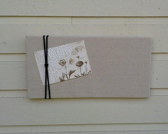 Linen Pinboard, Modern and classic Oatmeal Linen Bulletin Board with black macrame cord accent for your Photos and notes, pin or tack board