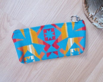Medicine Bag, Keychain, Coin, Zipper Change Purse, Gift Card Holder Pencil Case  Turquoise Southwest Leather Tassel or Beads 8.5 x 4