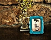 "Shabby Turquoise Photo Frame / Upcycled Vintage Picture Frame / Bright Turquoise Table Frame for 3.5"" x 5"" Photo"