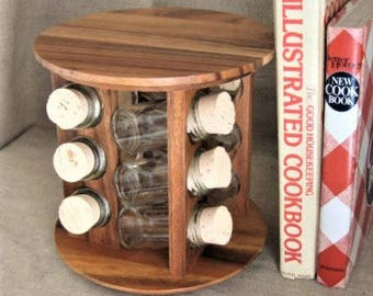 Vintage Spice Rack with 12 Jars / Contemporary Wood Lazy Susan Spice Rack /  Retro Rotating Spice Rack in Upscale Minimalist Style