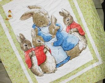 Peter Rabbit Baby Quilt, Beatrix Potter Nursery Decor, Baby Bedding, Crib Bedding, Gender Neutral Baby Quilt, Unisex Baby,