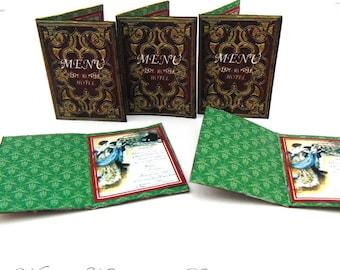 "PDF Dollhouse Victorian Menu, 1:12 Menu Books Digital Download, Dollhouse Food, Dollhouse Victorian, Scale 1"" Miniatures"