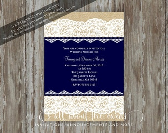 "Bridal/Wedding Shower invitations - Digital file ""Burlap and Lace Navy"" design"