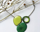 Green necklace. tagua nut jewelry. Lime green necklace.  Mixed greens Necklace. Kelly green necklace. Sela Designs Christmas shipping.