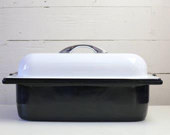 Enamel Roasting Pan Vintage roasting pan Mid century bakeware