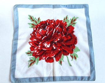 Vintage Red and Light Blue Chrysanthemum/Rose Floral Handkerchief- 1950s