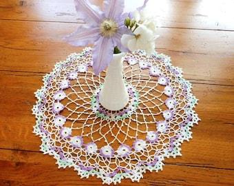 Lovely Vintage Hand Crocheted Flower Doily