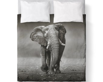 Grey Elephant Duvet Cover/ Bedding/ Comforter Cover/ Twin, Queen, King/ Made To Order/ Grey Duvet Cover/ Elephant Duvet Cover