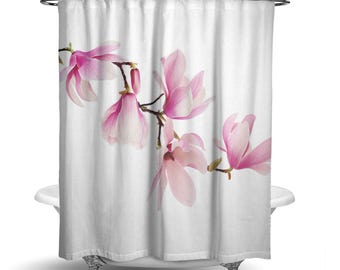 "Magnolia Pretty Pink White Floral Shower Curtain / Bath Curtain/ Standard Size (71""x74"") FABRIC SHOWER CURTAIN - Made To Order"