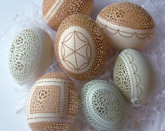 Victorian Lace Carved and Etched Egg of Your Own Design - Made to Order