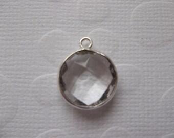 Clear Quartz Coin Drop - Crystal Clear Charm - Silver Plated Brass Bezel - Genuine Gemstone Pendant - Qty 1