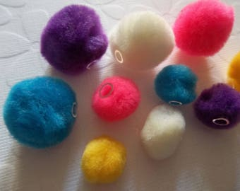 Pom Pom Beads - Half Inch & Three Quarter Inch Size Beads - Bright Colors - Qty 90 Beads: 45 Beads Each Size