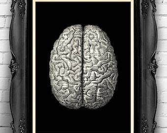 Gothic Wall Decor brain art print   etsy