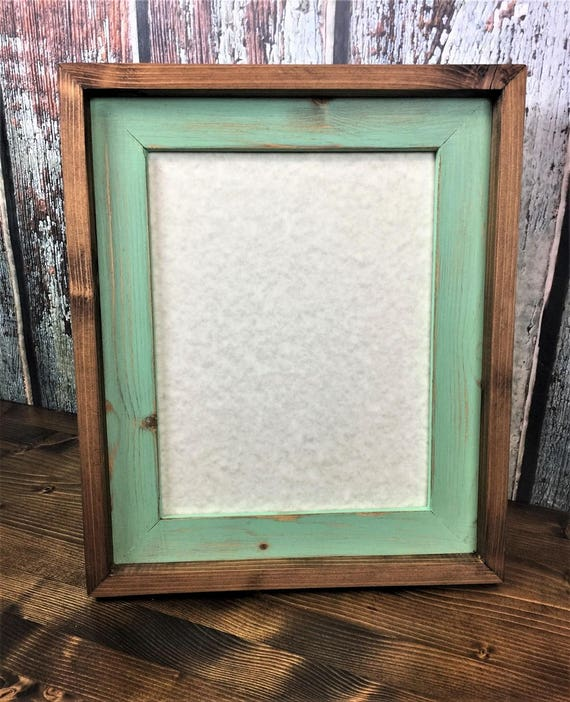 85 x 11 mint green rustic weathered stacked and stained picture frame rustic home decor document frame rustic wood frames home decor from rusticsprings - Mint Picture Frames