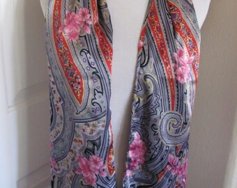 "SALE!! Colorful Shiny 2 Layer Fashion Scarf or Sash  // 7"" x 58"" Long"