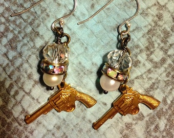 Pistols, crystals and pearls earrings with sterling hooks