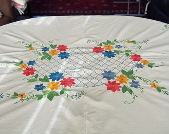Embroidered Tablecloth Ethnic Folk Art Flowers Lace 60 x 65