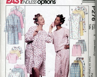 Misses' Robe, Nightgown or Top and Pull-On Pants or Shorts Sewing Pattern - McCall's P276 - Sizes Small, Medium, Large - UNCUT
