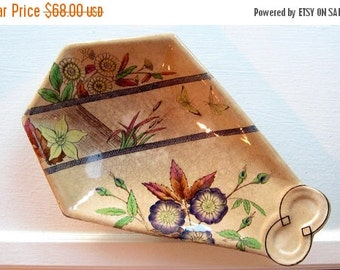 ON SALE Antique Victorian Transferware Polychrome Aesthetic Dish Serving Tidbit Flowers Butterflies Collectible English Registry