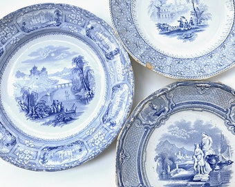 3 Antique English Transferware Plates Decorative Blue & White Plate Collection Shabby Cottage Chic Decor