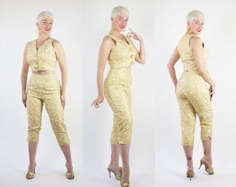 DESIGNER 1950s Style 2 Piece Metallic Gold Lurex Silk Cropped Blouse & High Waisted Capri Pants w/ Gold Soutache by Carmen Marc Valvo - M
