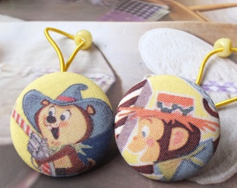 Girl Hair Accessories,Big Hair Tie Button Ponytail Holders-Retro Childhood Circus Kawaii Monkey and Mouse On Yellow (1 Pair)