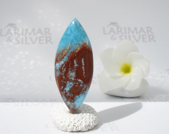 Larimar bead from Larimarandsilver, Hidden Dragon - red azure Larimar marquise, side drilled, focal bead, red dragon handmade Larimar supply