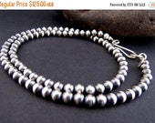 On Sale Antiqued Sterling 6mm Bead Necklace  20""
