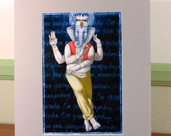 Ganesha Dancing 1 Matted Print 11 x 14