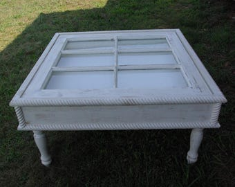 Shadow Box Window Coffee Table 32x32. Distressed, painted or shabby chic