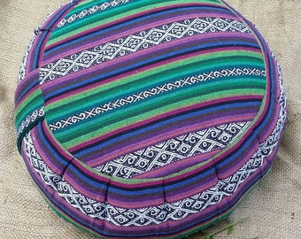 Exotic Ancash Woven Cotton Buckwheat Hull Meditation/Yoga Cushion