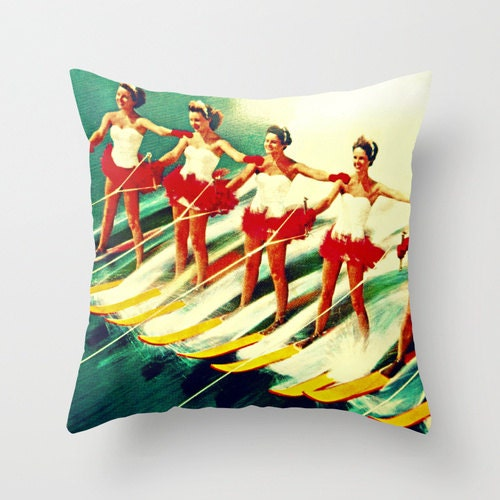 Modern Art Pillow : Mid Century Modern Art & Pillows Vintage Beach by VintageBeach
