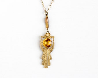 Antique Edwardian Era Simulated Citrine Lavalier  Necklace - Vintage 1910s Yellow Glass Stone Dangle Pendant Charm Gold Filled Chain Jewelry