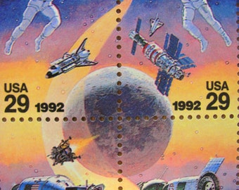 Space is the Place Full Sheet of 50 Vintage UNused US Postage Stamps 29c Cosmonaut Astronaut CCCP Soyuz Satellite Astronomy Science Fiction